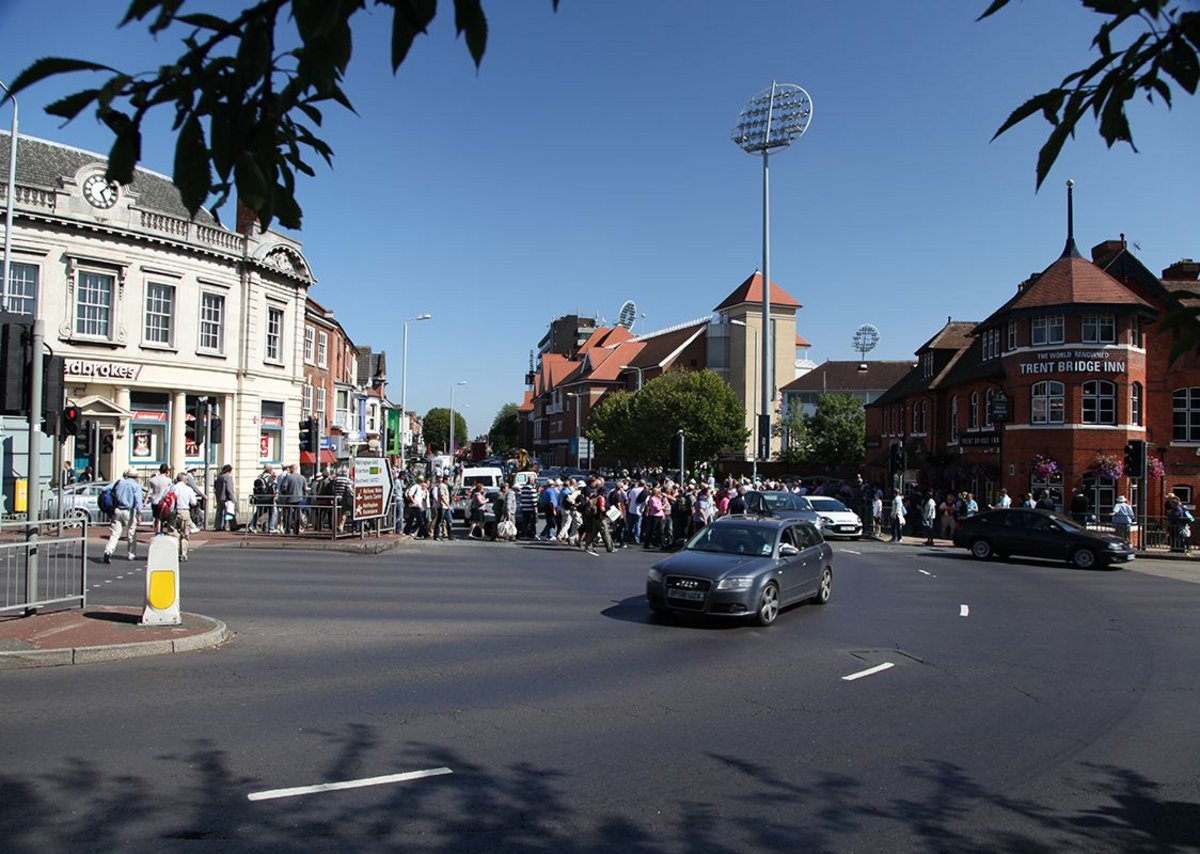Spectators arriving at Trent Bridge cricket ground, Nottingham.