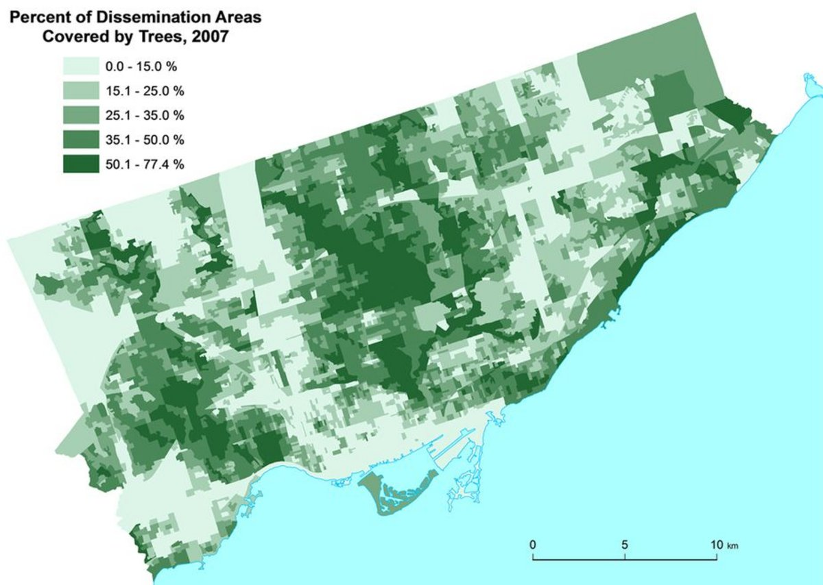 The Greenspace map of the city of Toronto constructed from the Geographical Information System (GIS) polygon data set Forest and Land Cover.