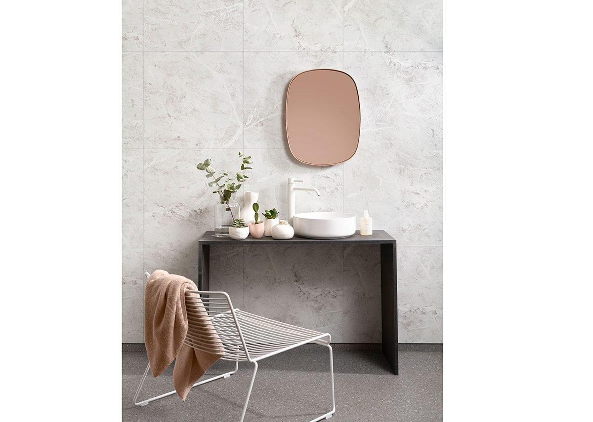 Fibo laminate wall panels in White Marble from the Scandinavian Tile Effect range.