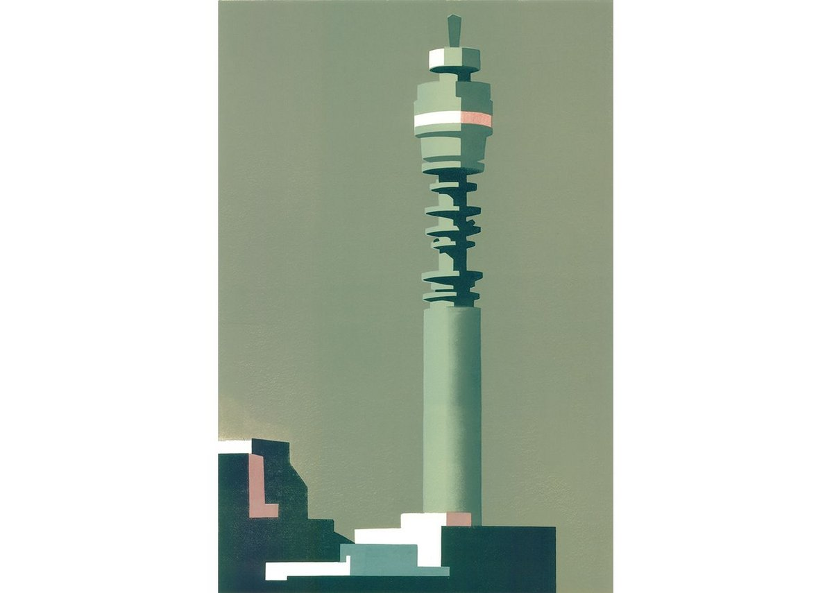 Telecom Grey, a linocut by Paul Catherall. The BT Tower has been one of Catherall's most frequent subjects.