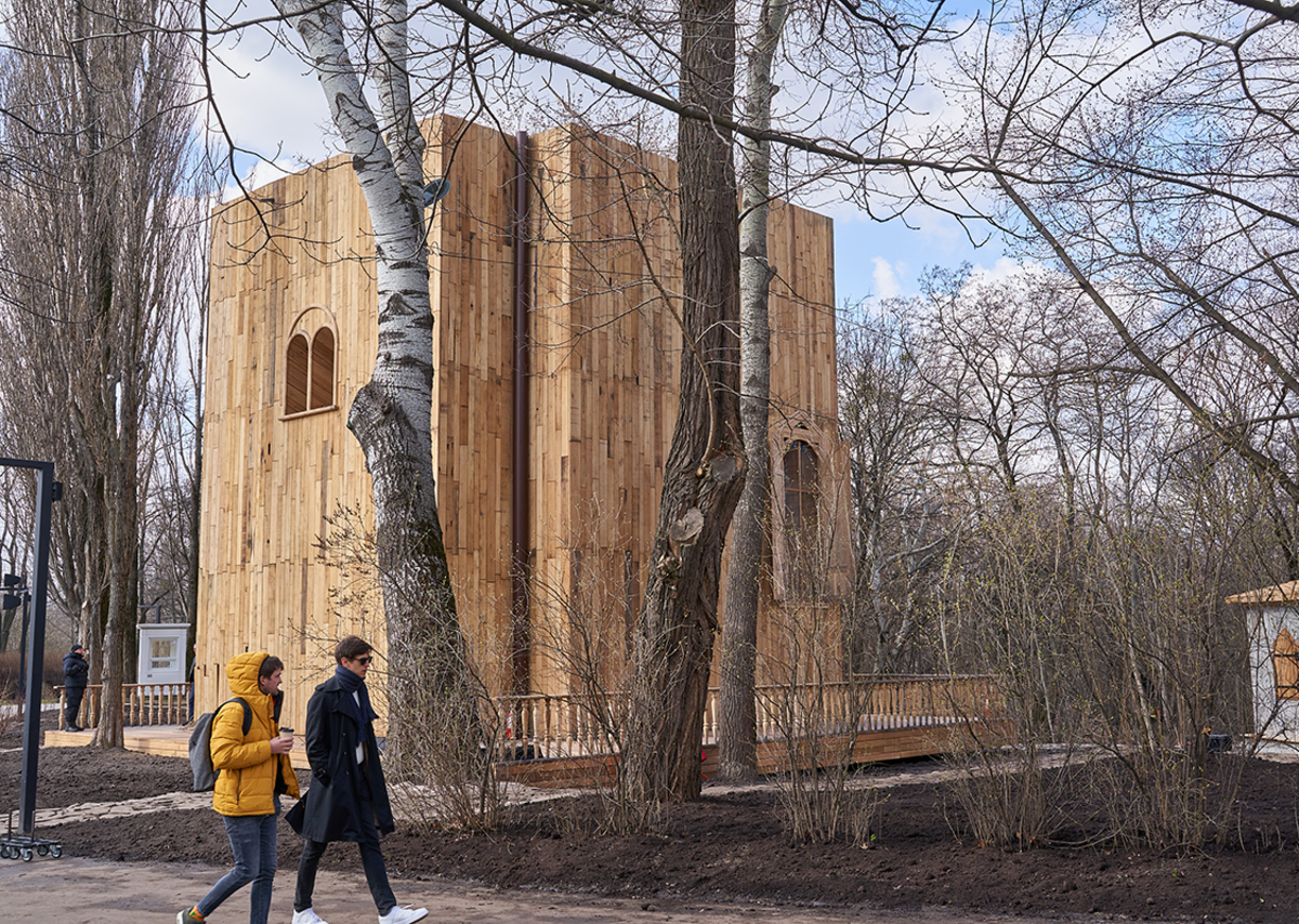 The symbolic synagogue at the Babyn Yar Holocaust Memorial Center in Kiev, designed by Manuel Herz Architects to mark the 80th anniversary of the massacre of thousands of Jewish people, Ukrainians, Roma and mentally ill people by the Nazis.