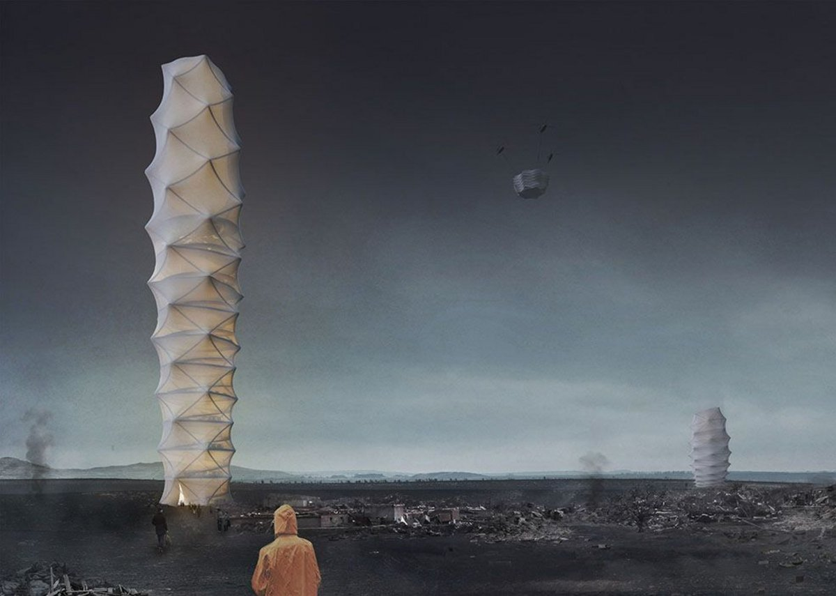 An unzippable idea for emergency relief: Skyscraper.zip  by Polish architects Damian Granosik, Jakub Kulisa, and Piotr Pańczyk