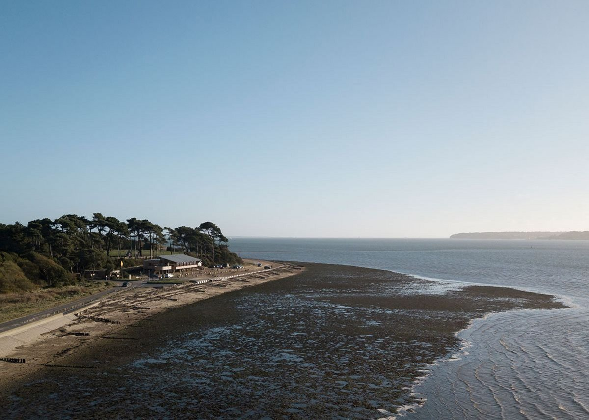 View from the West at low tide. The Lookout, Lepe Country Park by Hampshire County Council Property Services.