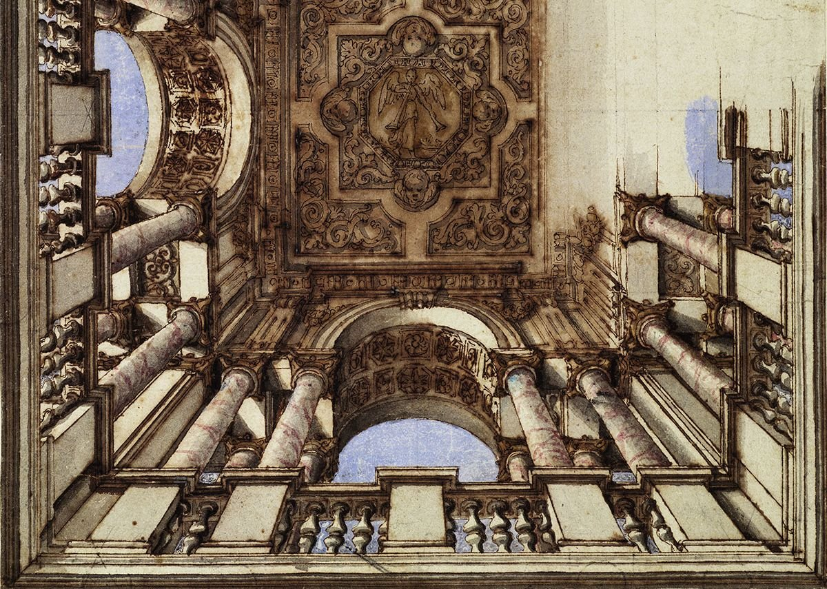 Design for a ceiling with columns and coffered arches, Italy c 1700, unknown designer.