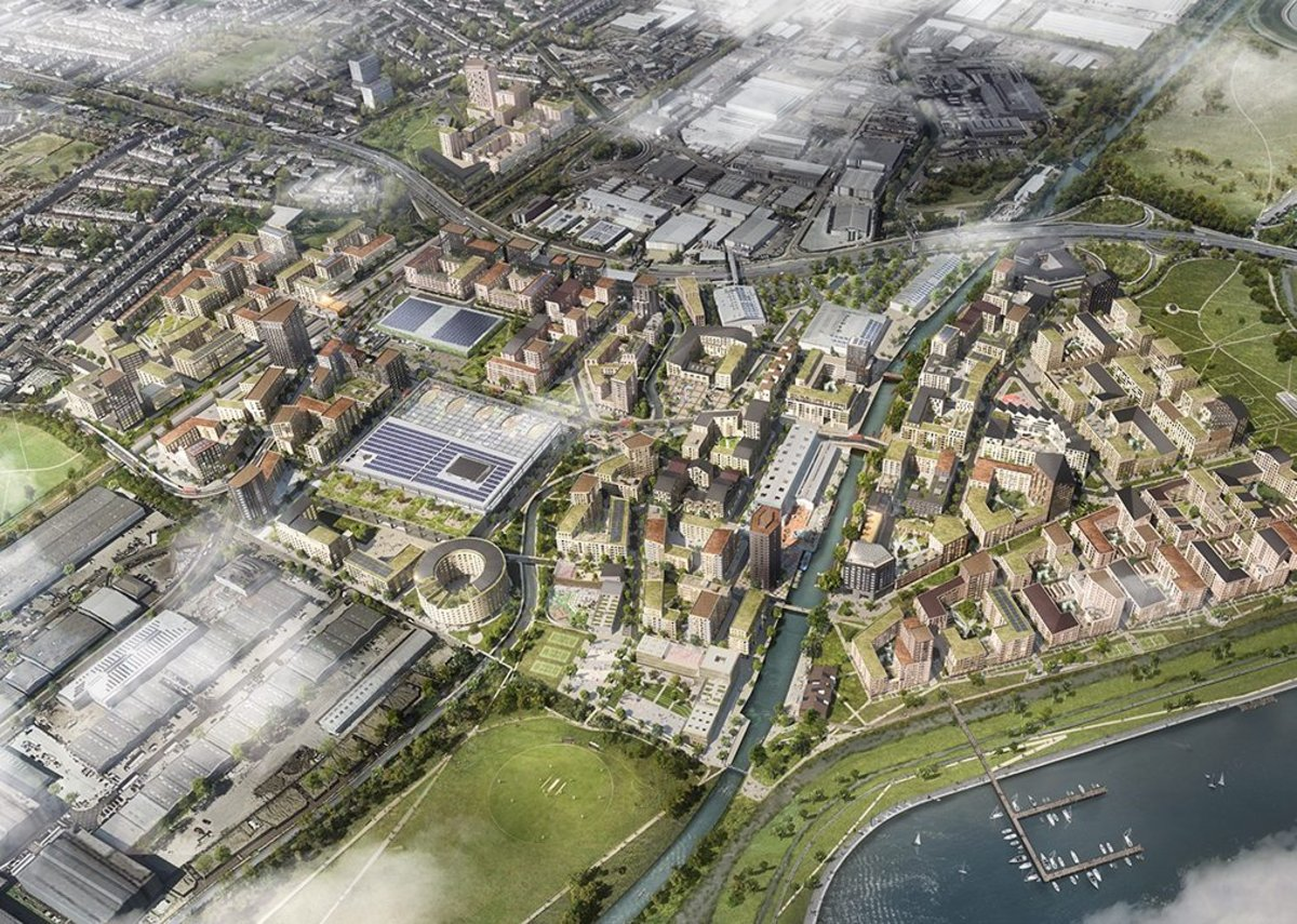 85ha redevelopment area at Meridian Water aerial view, partially along the river Lee.