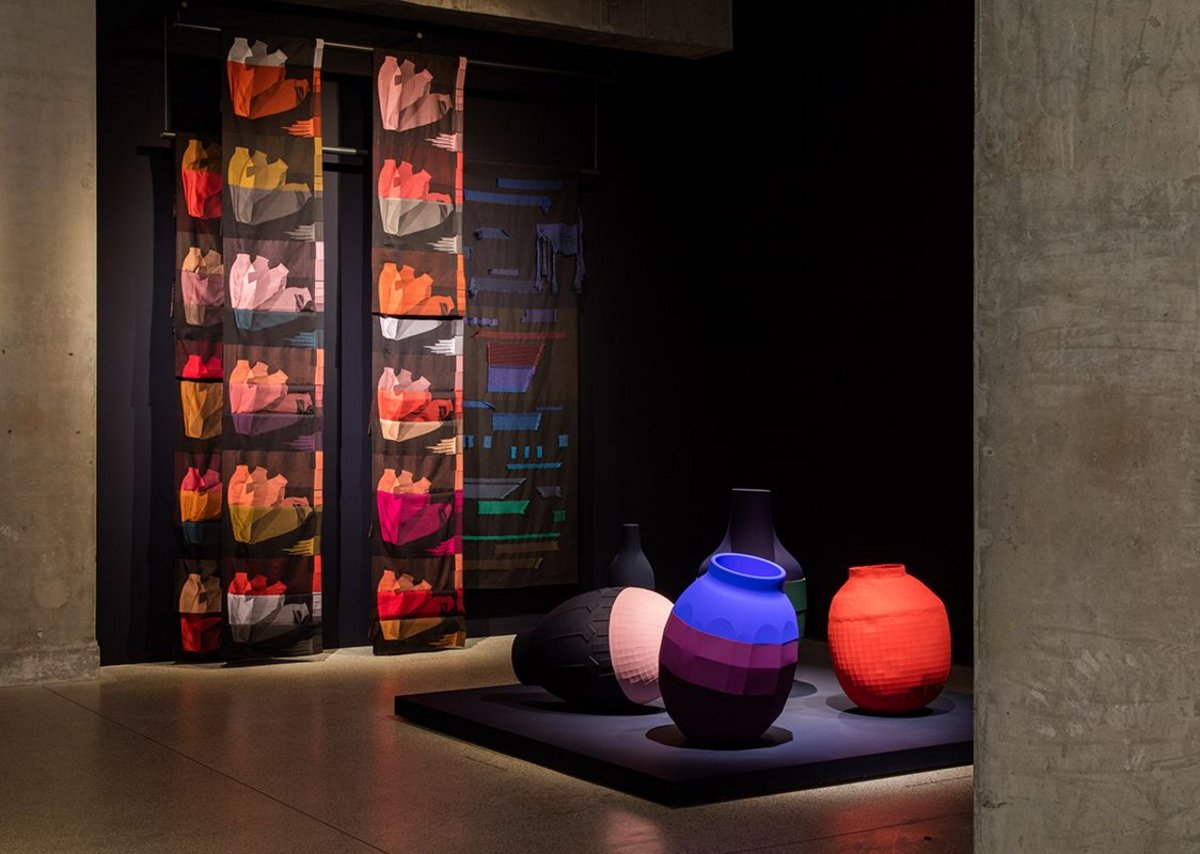 View into the Evening room of Breathing Colour by Hella Jongerius at the Design Museum. Photo: Luke Hayes. On the wall are Falling Vases weaves with Colour Catchers in the foreground.
