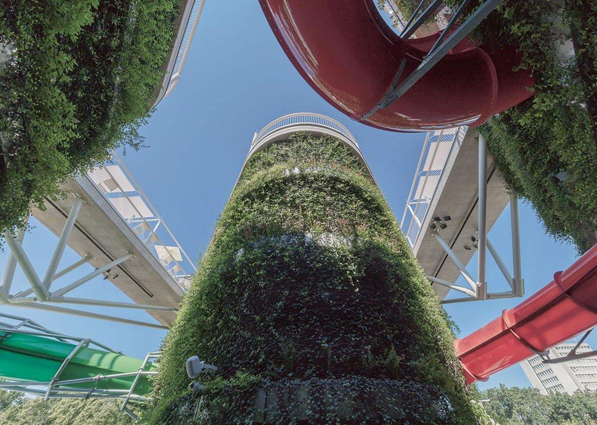 Crazy whizz-bang slides, flying catwalks and fast-growing Jumanji vines.