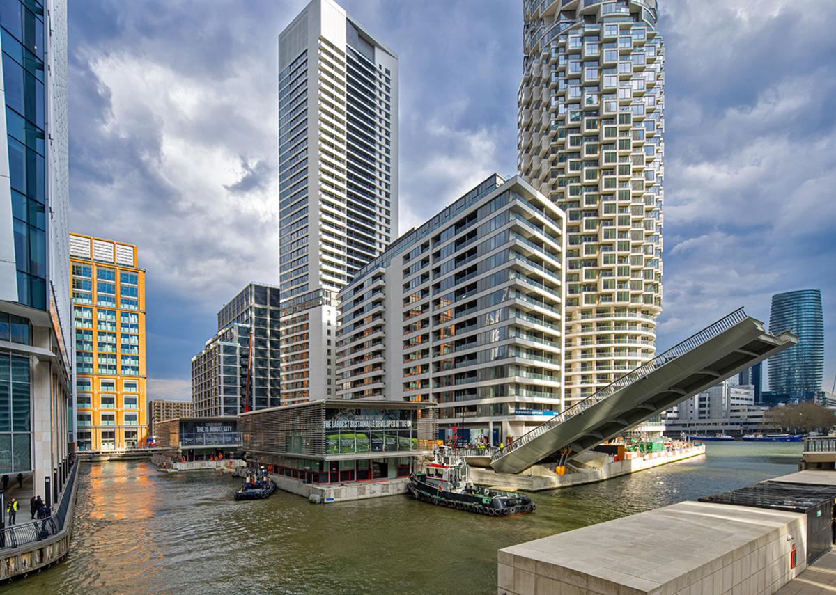 The floating structures are kept float on giant U-shaped concrete hulls and sit in a closed body of water directly above the tunnels of the Jubilee Line.