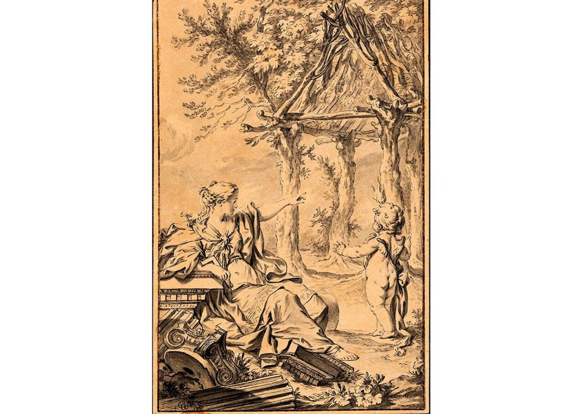 Charles-Dominique-Joseph Eisen, frontispiece, with design for the primitive hut, for the second edition of Essai sur l'Architecture, by Abbé Laugier, 1755.