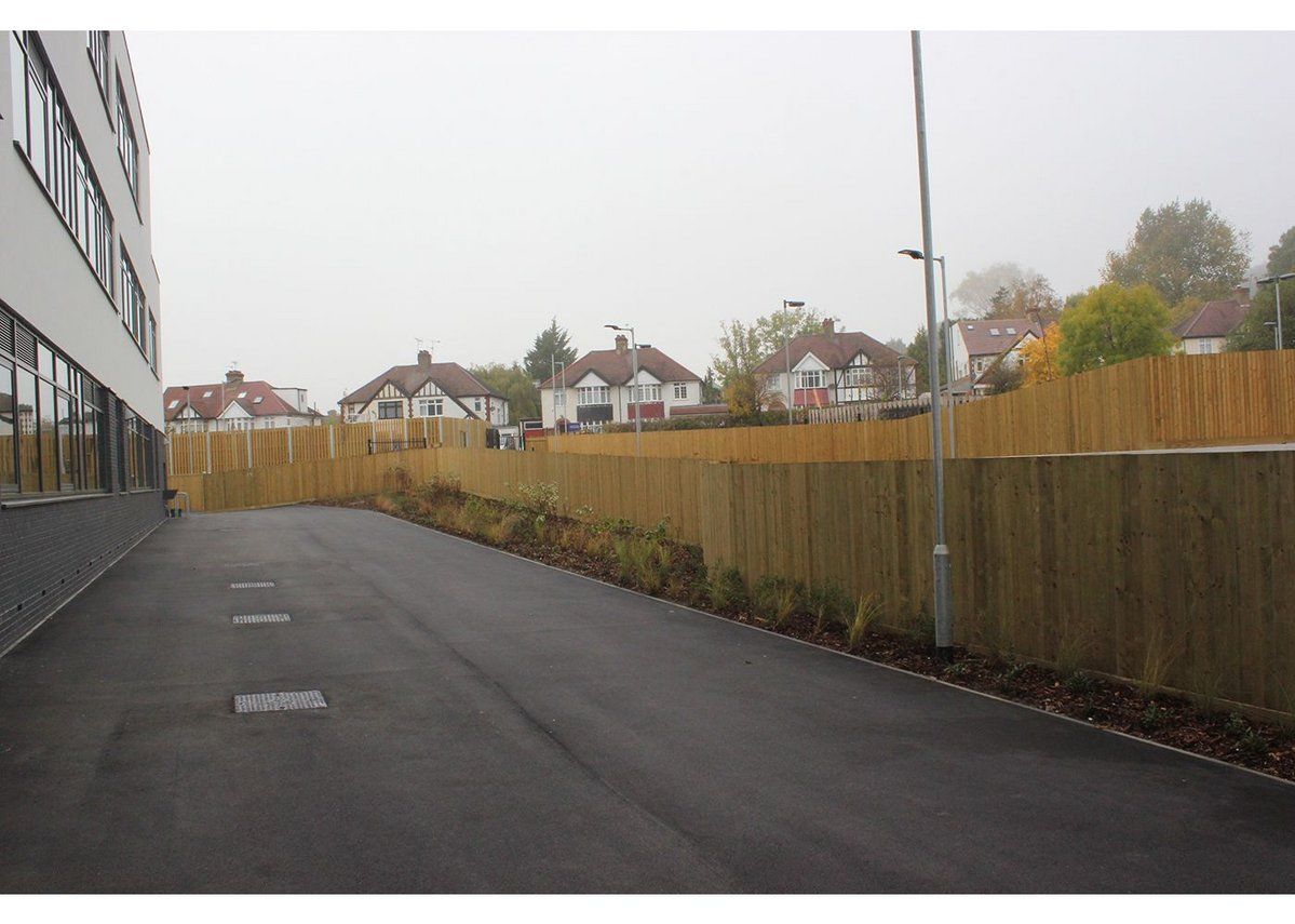 Jacksons' Featherboard timber fencing was used internally to provide a clear boundary between the school and service yard at Northwood School, London.