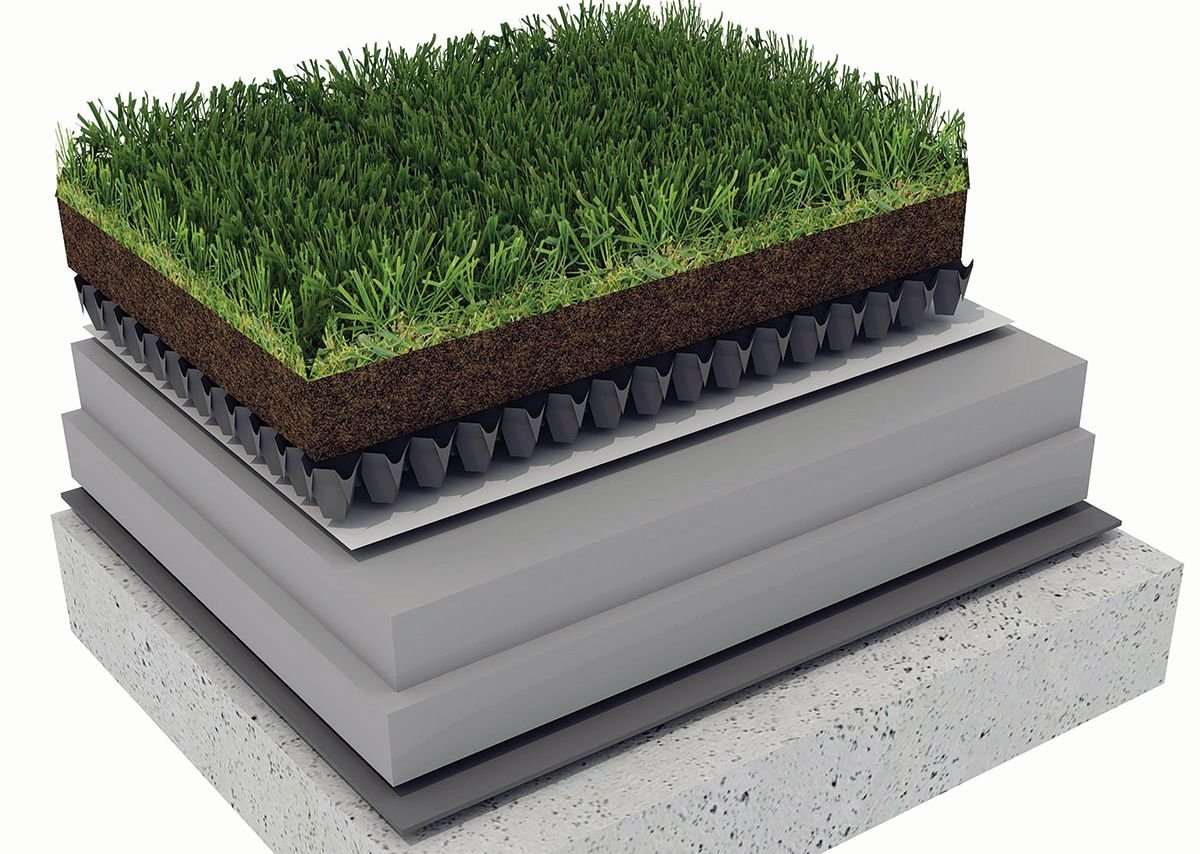 Inverted green roof buildup using XENERGY™ SL and XENERGY™ MK by Dow