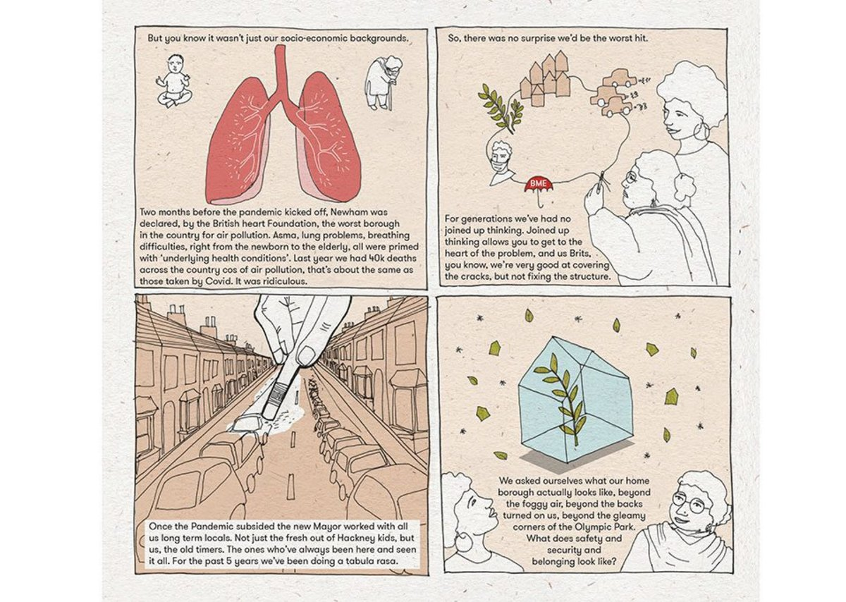 Eco-Archi Post Covid: The comic explores the impact of air pollution upon Covid-19 transmission and the disproportionate affects upon BAME communities living in the inner-suburbs of our cities.