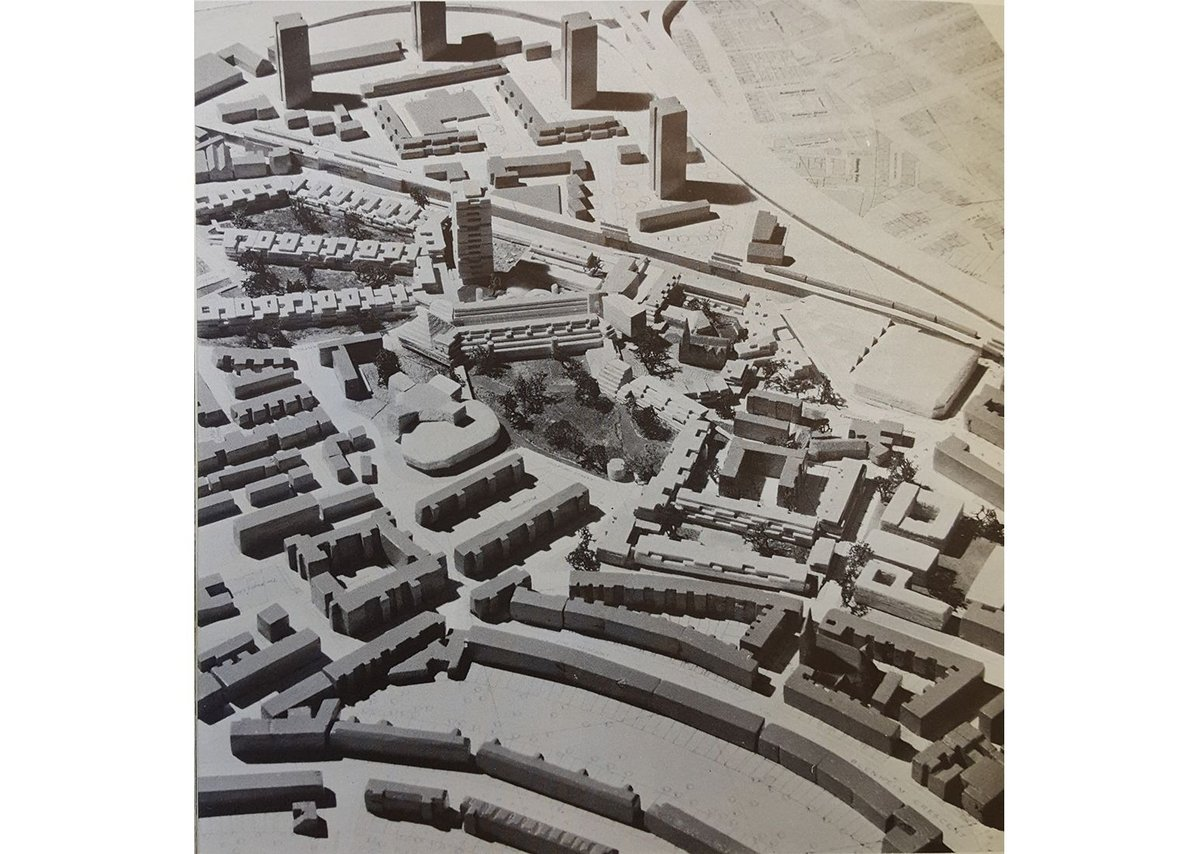 The 1968 model of the Lancaster West estate, with Grenfell Tower at the centre.