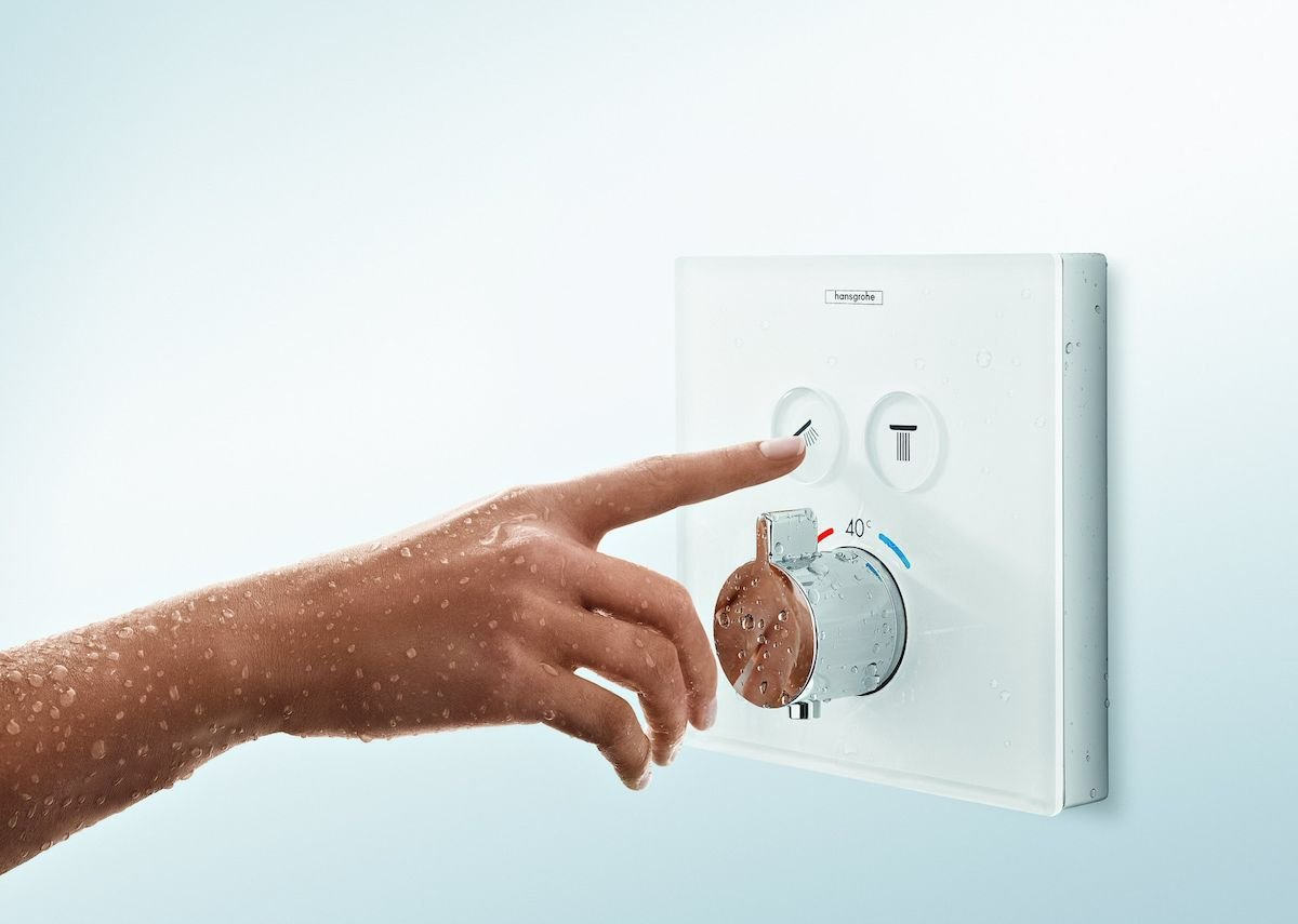 Hansgrohe ShowerSelect white glass thermostat.