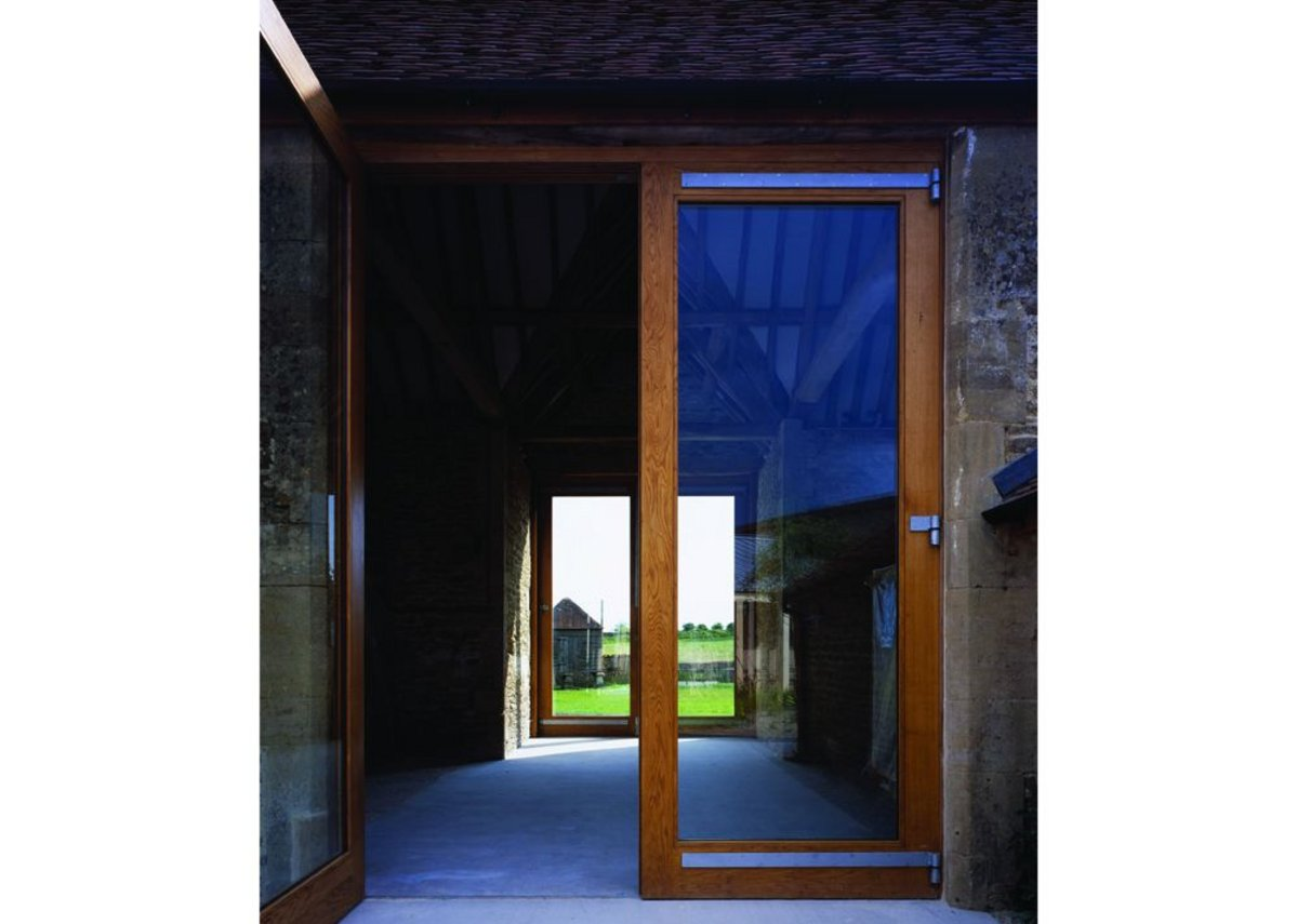 Double doors with views through to the 'farm yard'.