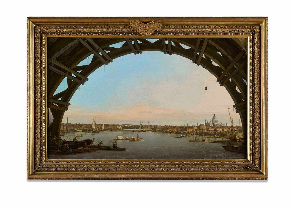 London Seen Through the Arch of Westminster Bridge, 1747 by Canaletto.