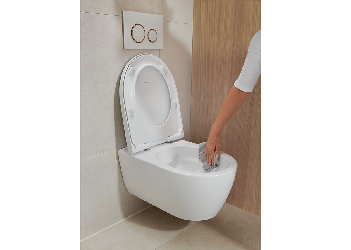Completely without a rim and enhanced with optimal flush technology - Geberit RimFree toilets minimise the build up of germs and bacteria for easier maintenance.