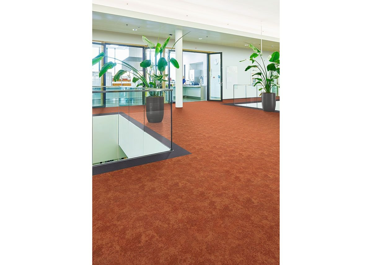Flotex Colour Calgary flocked flooring in Melon and Ash.