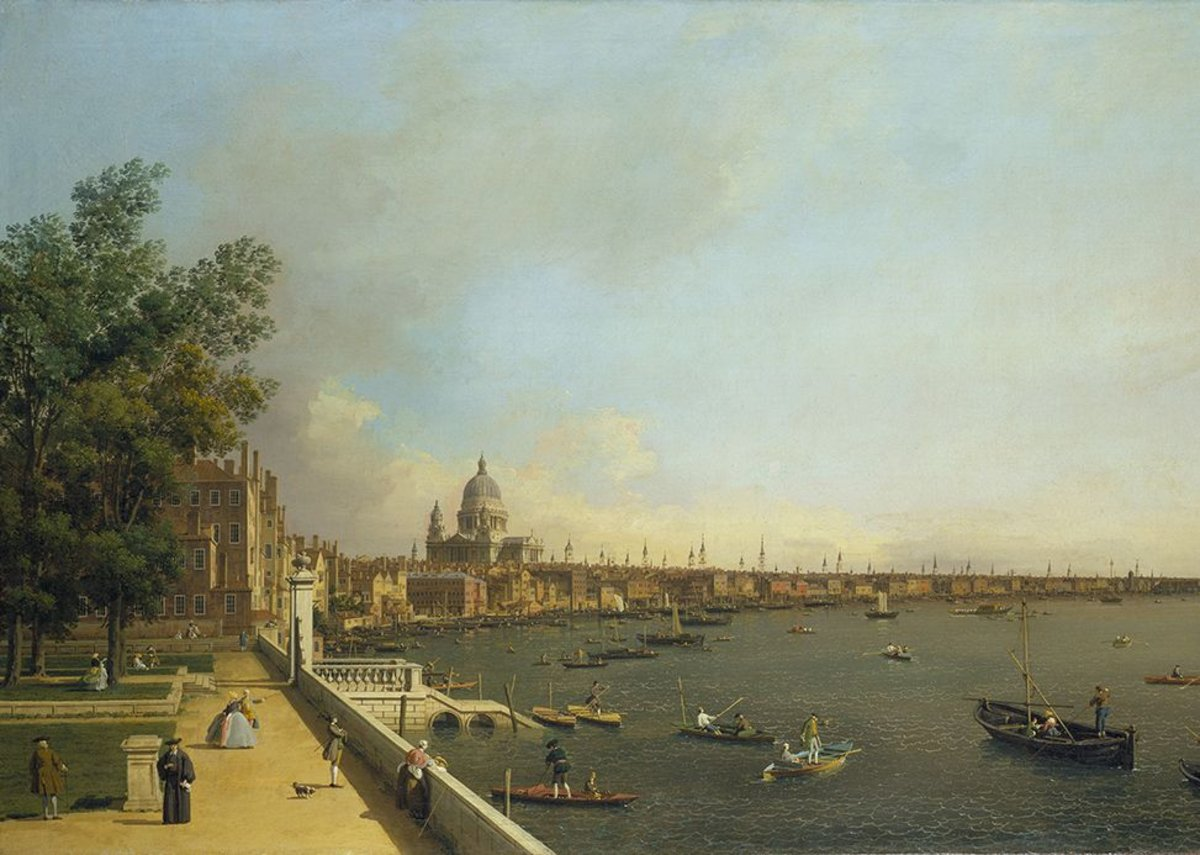 London, all spires and sails in Canaletto's London The Thames from Somerset House Terrace towards the City.
