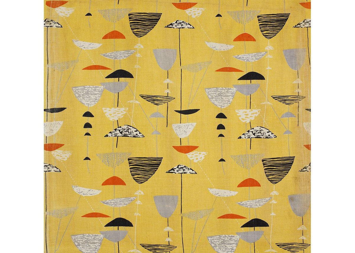 Calyx screen-printed furnishing fabric, Lucienne Day, Heal's Wholesale &  Export, 1951. Copyright the Robin & Lucienne Day Foundation.