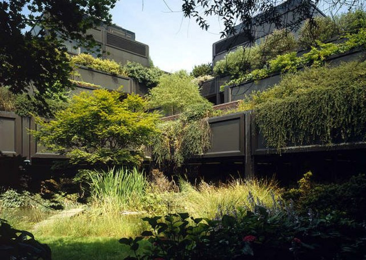 Gateway House has great drama with heavily planted roof gardens.