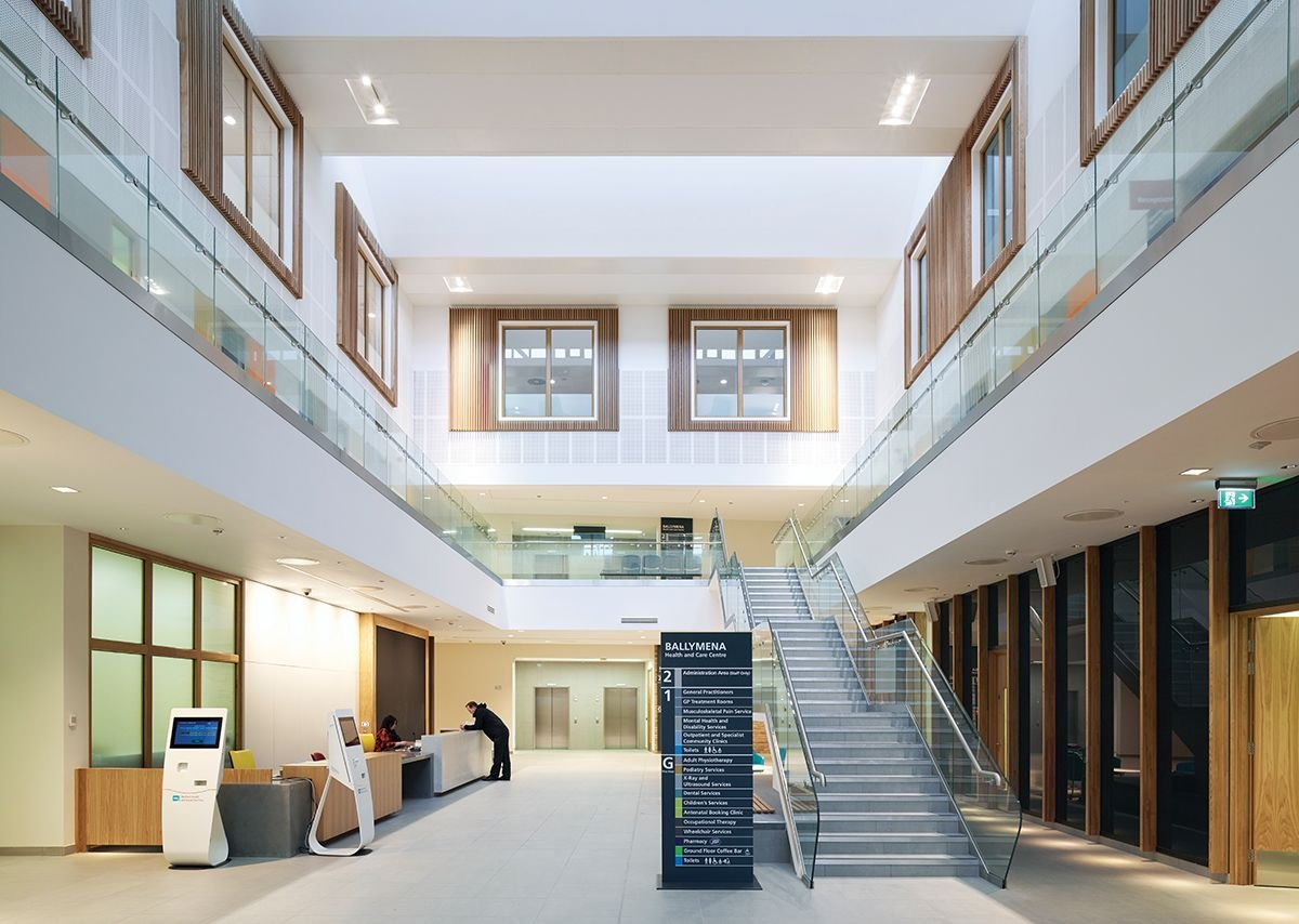 In the atrium each of the three levels  is treated differently to create identity.
