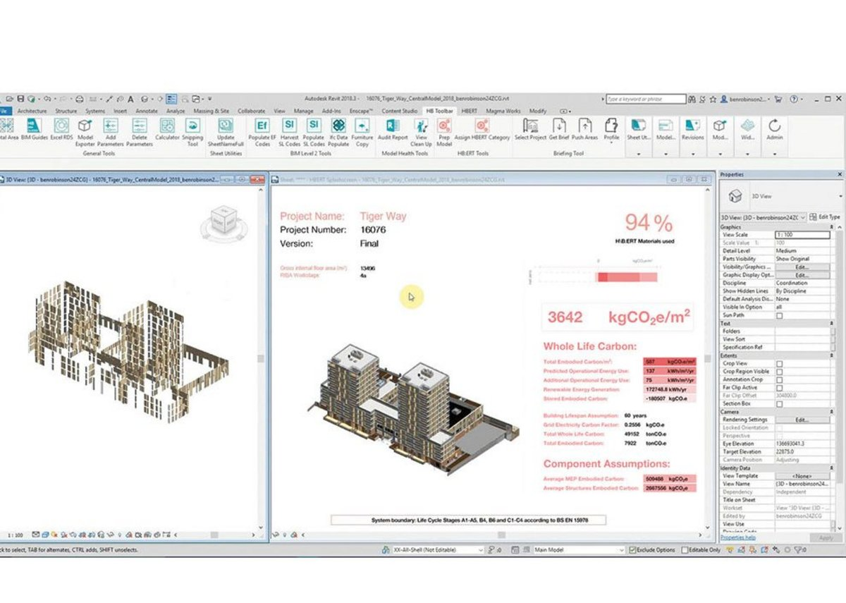 H\B:ERT is a plug-in that helps users understand the embodied carbon of a project.