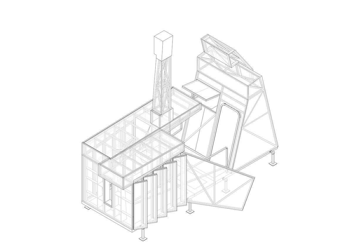 Isometric of The Mansio, which demounts into four components for transport between sites.
