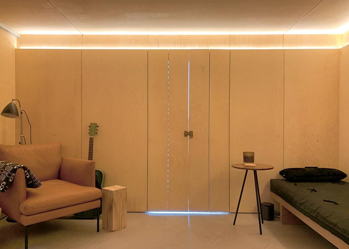 The snug is lined with plywood to create a different, cosier feel for colder nights.