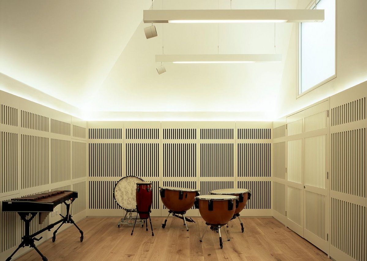 The percussion room, tucked away behind the recital hall, is day lit from above and heavily soundproofed.