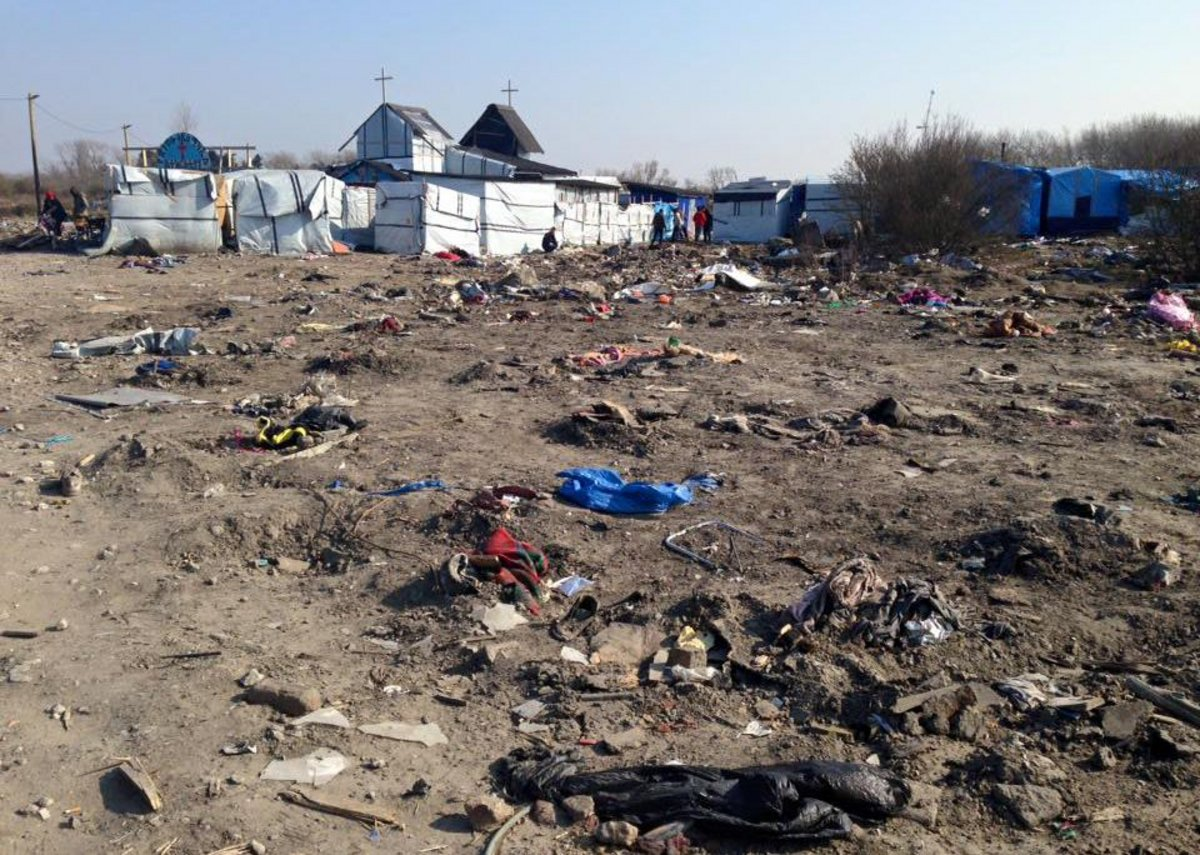 Migrant Church Calais after demolition of surrounding encampment