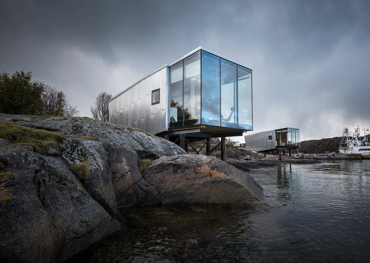 Manshausen elevated cabins in the Steigen Archipelago in northern Norway, designed by Stinessen Arkitektur to accommodate the predicted rise in a sea level.