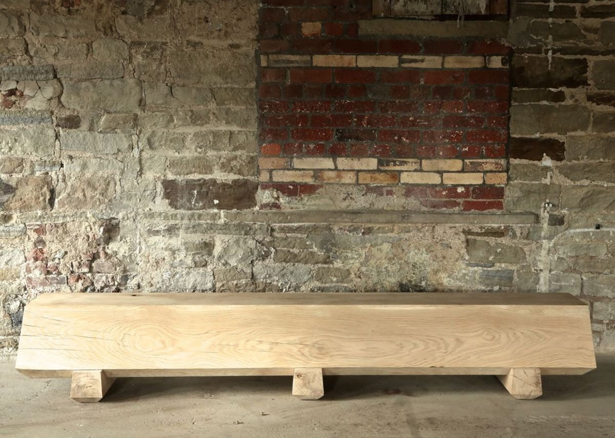Production made - Dyehouse Fall Bench in French Green Oak made by Dyehouse.