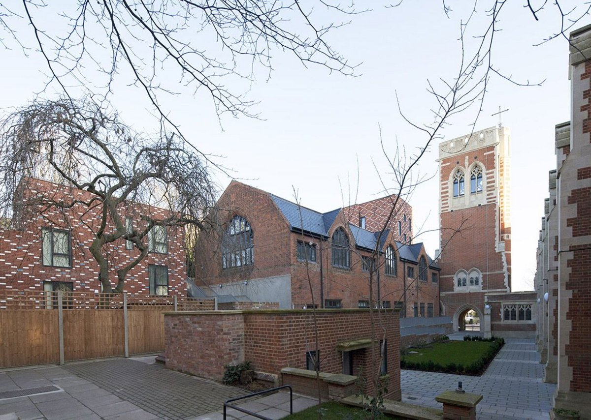 Courtyard with Code 5 vicarage and converted mission hall to the left.