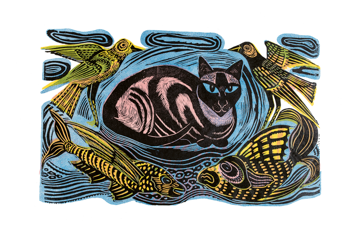 Feline Phantasy linocut in four colours 1948.