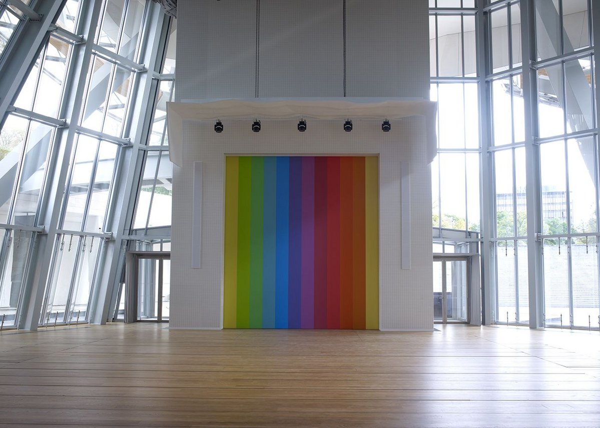 Looking past the Ellsworth Kelly toward the stepped waterfall from the lower level Auditorium.