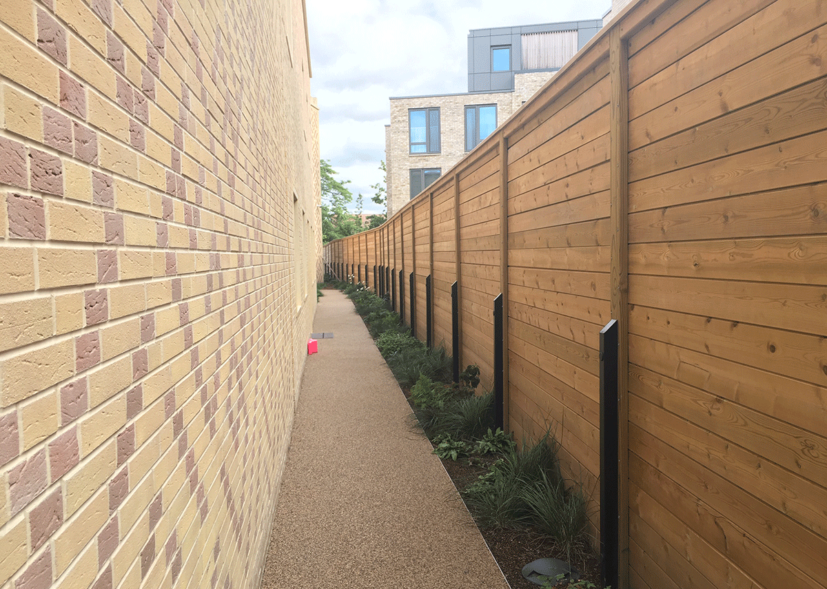 Jakoustic Reflective fencing is designed to eliminate gaps that sound can travel through.