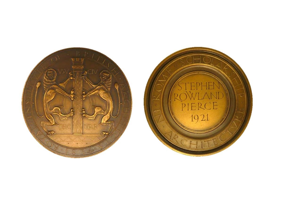 RIBA Rome Scholarship Medal. Designer unknown, c.1936. Awarded retroactively to S R Pierce in 1921.