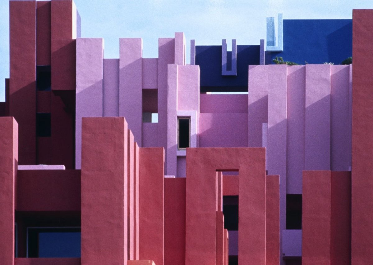 The Red Wall, Muralla Roja, Spain. Its 50 apartments were designed in the 1970s by Ricardo Bofill and Taller de Arquitectura.
