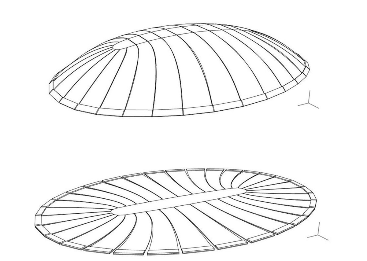 Geometry optimized dome and unrolled initially flat slab before inflation ( optimization by Thomas Pachner)