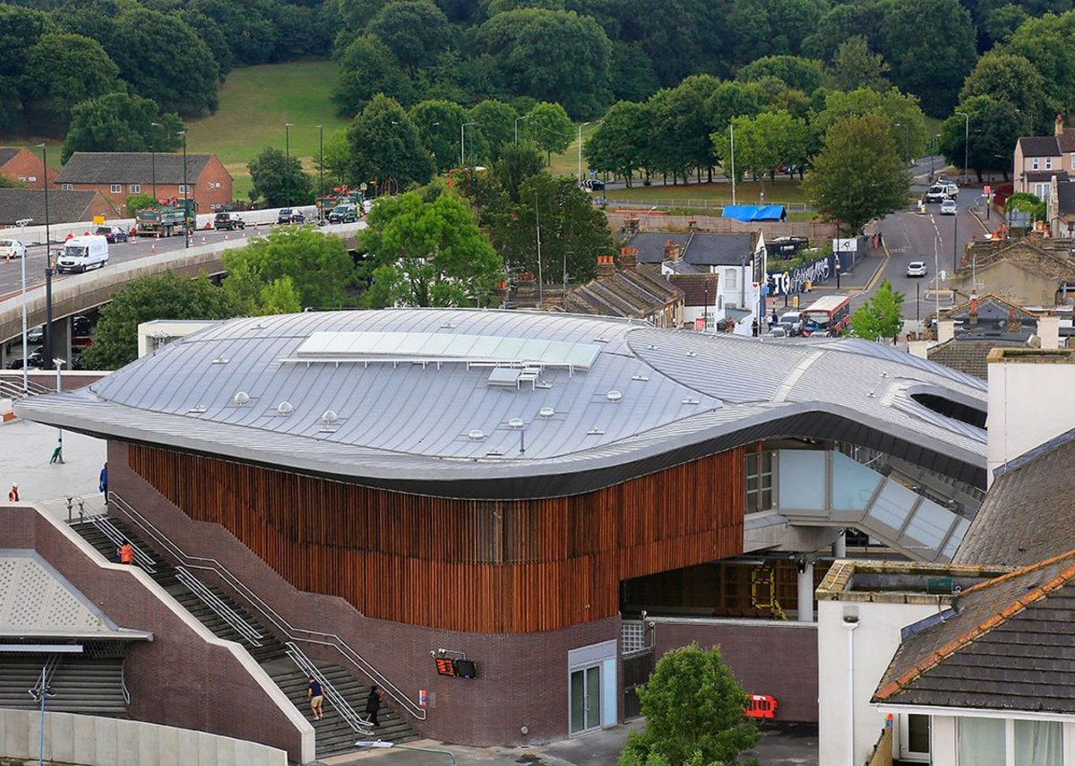 Quartz-Zinc Plus standing seam roof at Abbey Wood station. Fereday Pollard architects.