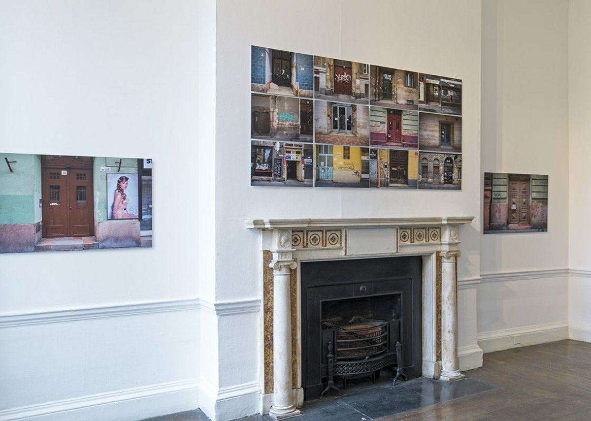 Installation view of Nigel Swann yellow-star houses.