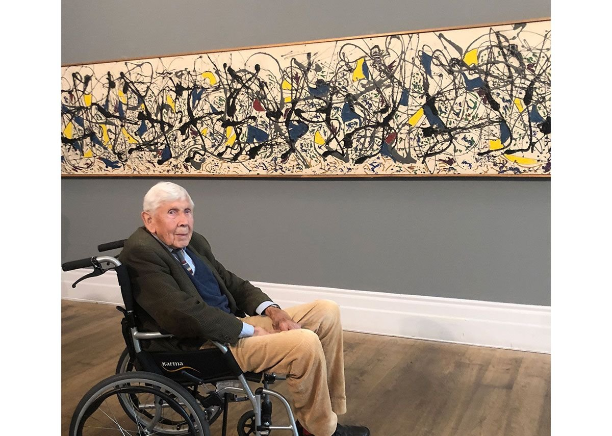 Trevor Dannatt at Staging Jackson Pollock, an exhibition at the Whitechapel Gallery to mark the 60th anniversary of the Jackson Pollock exhibition in 1958.