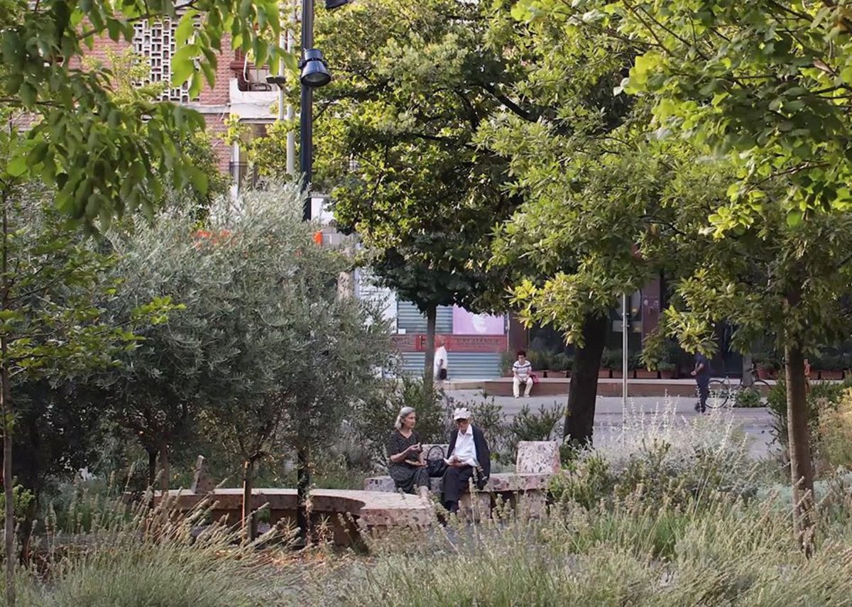Film still from Untitled (The Things Around Us, 2020), featured in the CCA exhibition The Things Around Us, of plants surrounding Skanderbeg Square in Tirana, Albania © Maxime Delvaux, 51N4E