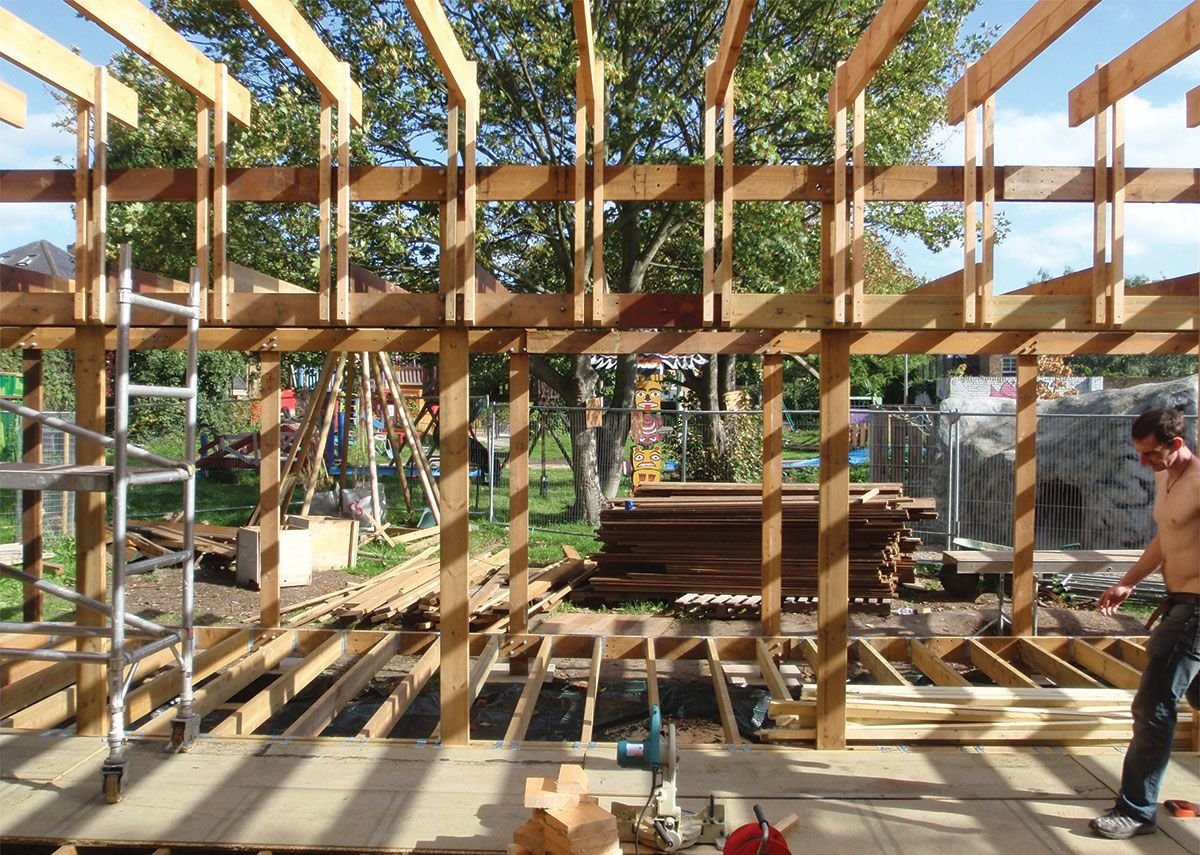 2016 winner, a beautiful, delicate timber system as designed by Walter Segal. Here it is under reconstruction at Oasis in Stockwell.