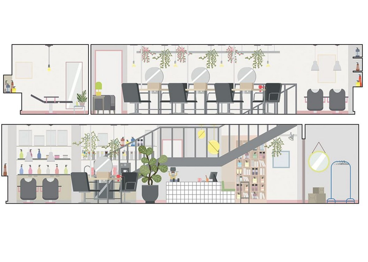 Designs for the ground and first floors of Hazel + Hayden. It converts a 1980s office.