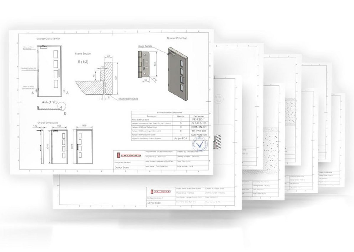 Halspan DS100 fire door 60S on a layout template.