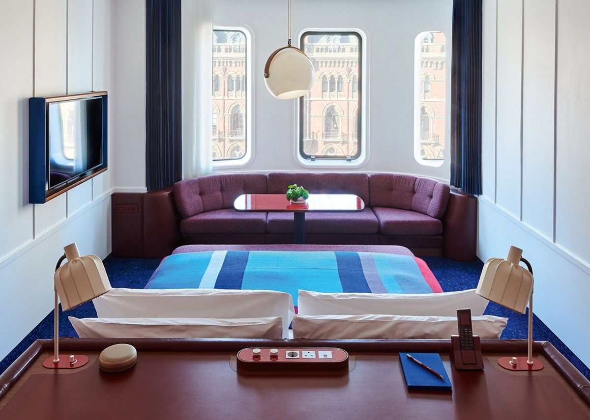 There's a retro-future look to the hotel's compact bedrooms – waffle slabs are exposed.