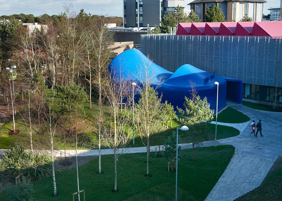 The creative grain of AUB is in contrast to the behemoth of Bournemouth University, just visible.