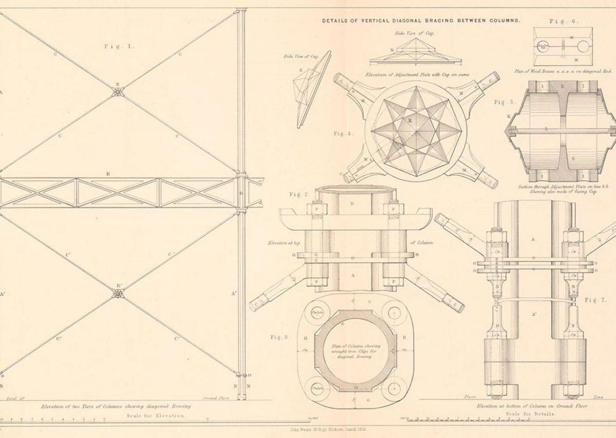 Crystal Palace details of bracing between columns